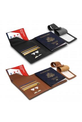 Otto Angelino Hakiki Deri Pasaport Kılıfı - Seyahat Cüzdanı - Valiz Kimlik Etiketli